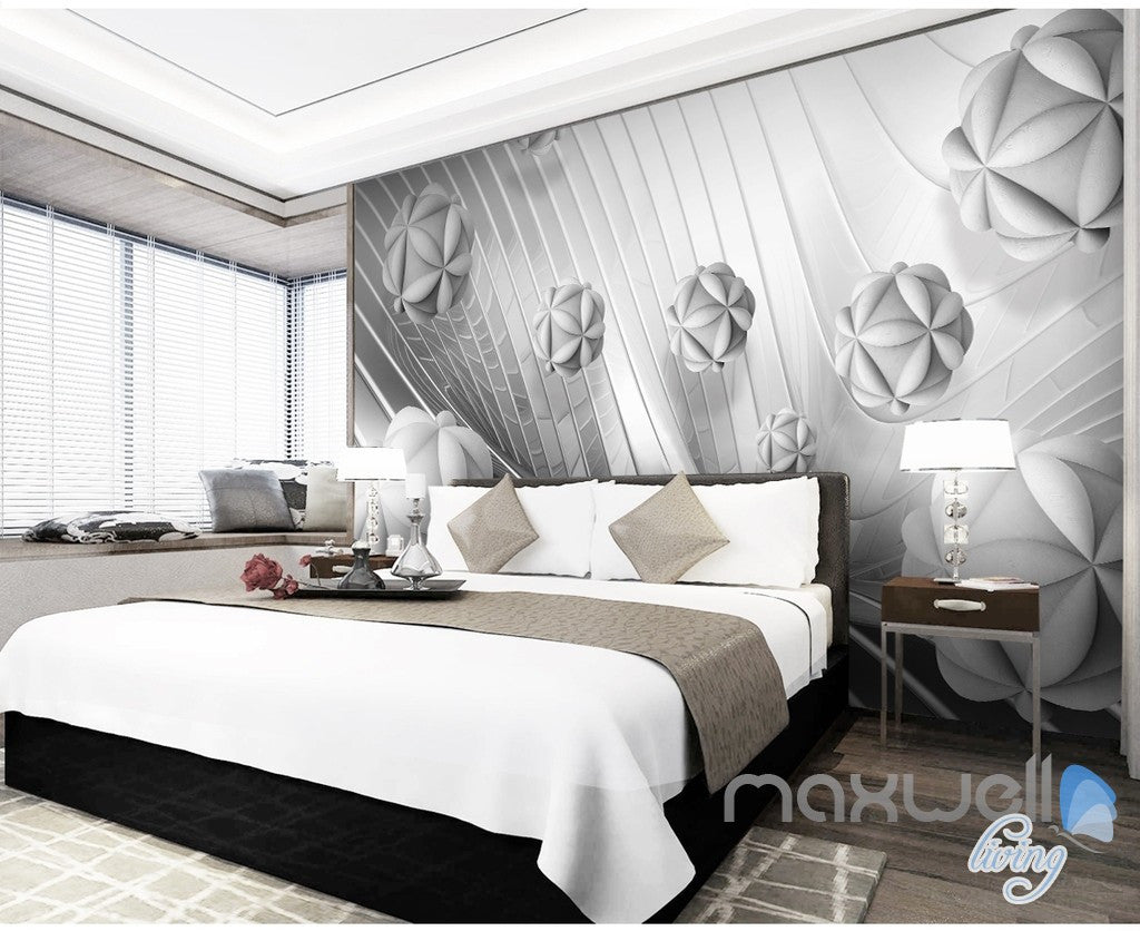 3D Modern Flower Ball 5D Wall Paper Mural Art Print Decals Business Decor IDCWP-3DB-000008