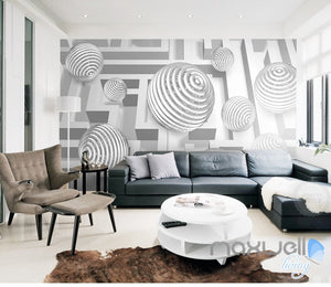 3D Modern Swirl Ball 5D Wall Paper Mural Art Print Decals Busniess Decor IDCWP-3DB-000009