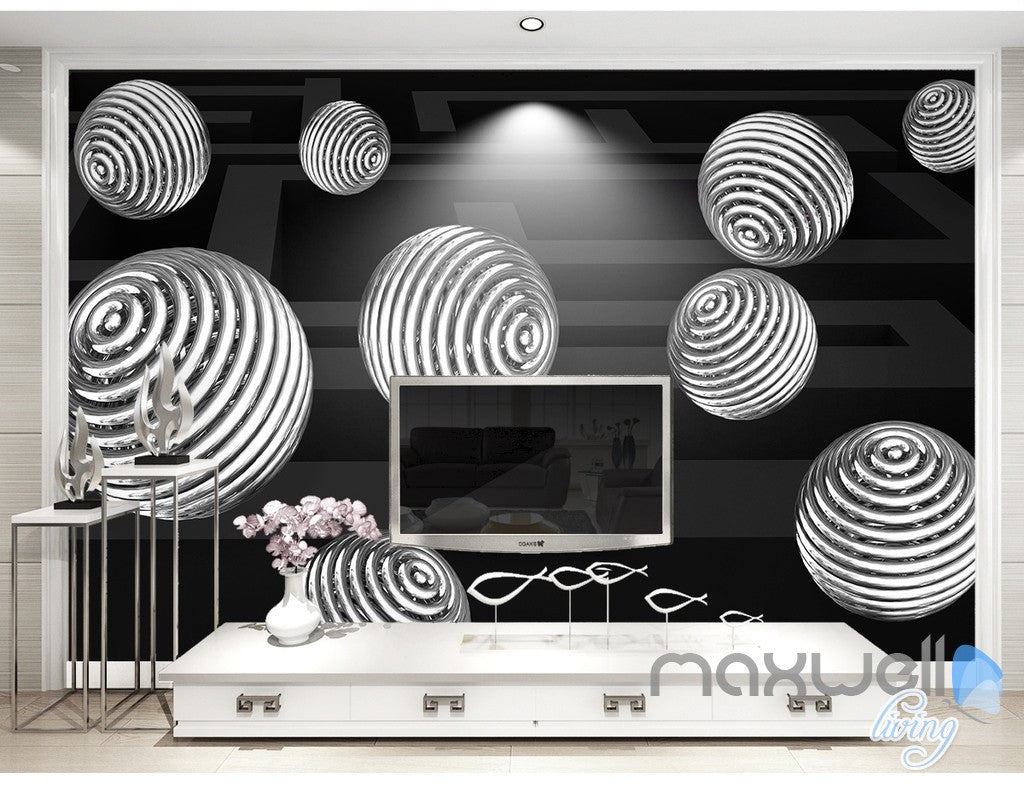 3D Hollow Ball 5D Wall Paper Mural Art Print Decals Business Office Decor IDCWP-3DB-000014