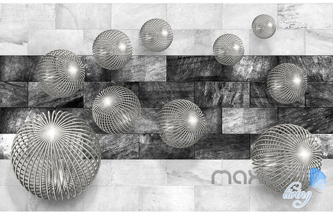 Image of 3D Balls Marble 5D Wall Paper Mural Modern Art Print Decals Office Decor IDCWP-3DB-000015