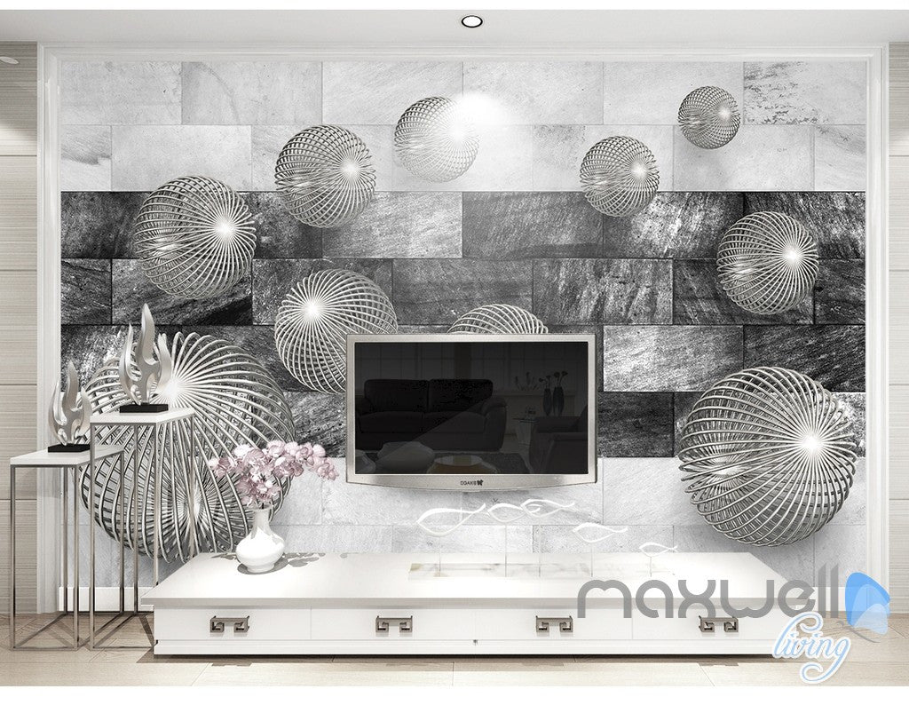 3D Balls Marble 5D Wall Paper Mural Modern Art Print Decals Office Decor IDCWP-3DB-000015