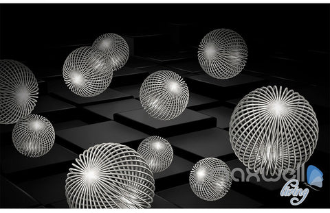 Image of 3D Black White Sphere 5D Wall Paper Mural Art Print Decals Business Decor IDCWP-3DB-000017