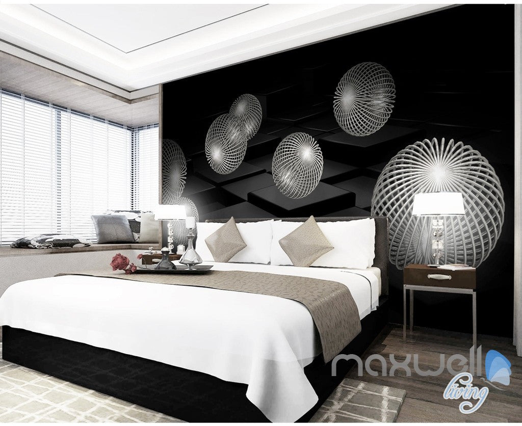 3D Black White Sphere 5D Wall Paper Mural Art Print Decals Business Decor IDCWP-3DB-000017
