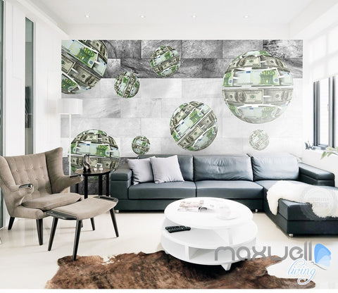 Image of 3D Euro Dollar Sphere 5D Wall Paper Mural Art Print Decals Business Decor IDCWP-3DB-000018