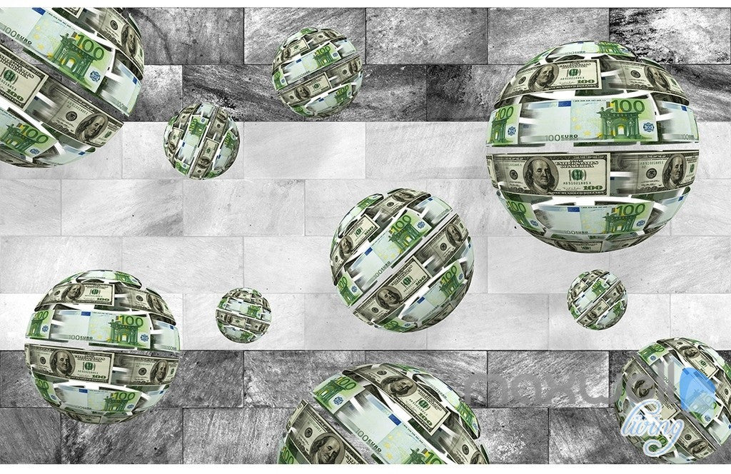 3D Euro Dollar Sphere 5D Wall Paper Mural Art Print Decals Business Decor IDCWP-3DB-000018