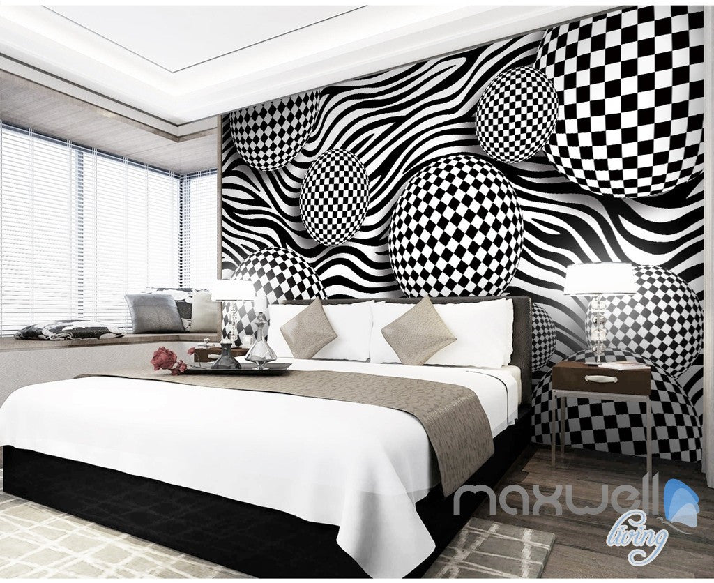 3D Chessboard Ball 5D Wall Paper Mural Art Print Decals Modern Room Decor IDCWP-3DB-000020