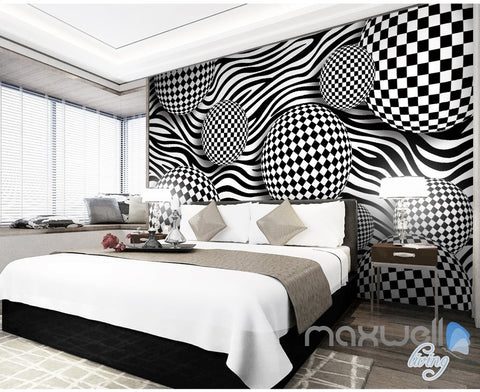 Image of 3D Chessboard Ball 5D Wall Paper Mural Art Print Decals Modern Room Decor IDCWP-3DB-000020