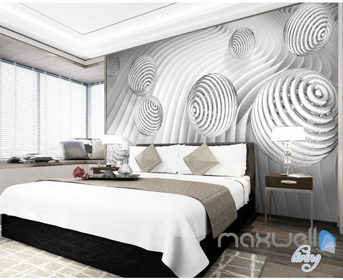 3D Waving Ball 5D Wall Paper Mural Art Print Decals Modern Bedroom Decor IDCWP-3DB-000025