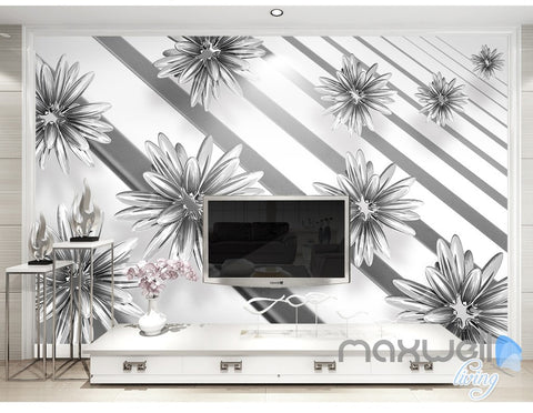 Image of 3D Flowers Parallel Pattern 5D Wall Paper Mural Art Print Decals Modern Decor IDCWP-3DB-000026