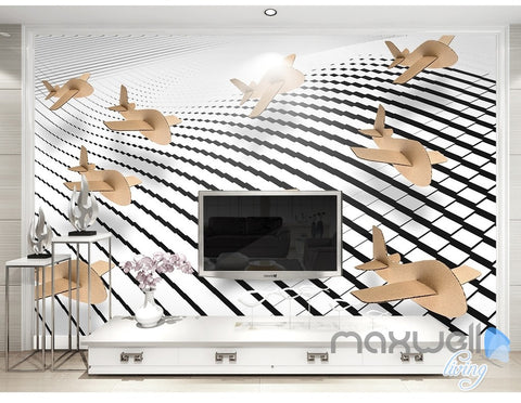 Image of 3D Cardboard Plane 5D Wall Paper Mural Art Print Decals Modern Decor IDCWP-3DB-000027