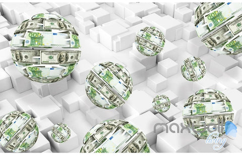 3D Money Ball Blocks 5D Wall Paper Mural Art Print Decals Modern Decor IDCWP-3DB-000028