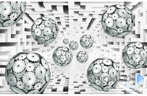 3D Gear Ball Modern 5D Wall Paper Mural Art Print Decals Business Decor IDCWP-3DB-000029