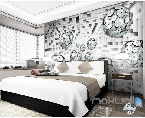 Image of 3D Gear Ball Modern 5D Wall Paper Mural Art Print Decals Business Decor IDCWP-3DB-000029