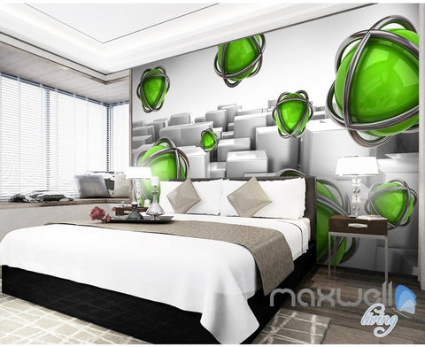 Image of 3D Green Ball Blocks 5D Wall Paper Mural Art Print Decals Business Decor IDCWP-3DB-000030