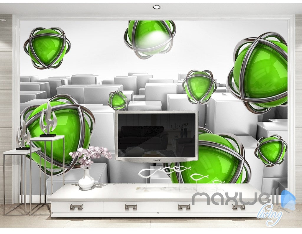 3D Green Ball Blocks 5D Wall Paper Mural Art Print Decals Business Decor IDCWP-3DB-000030