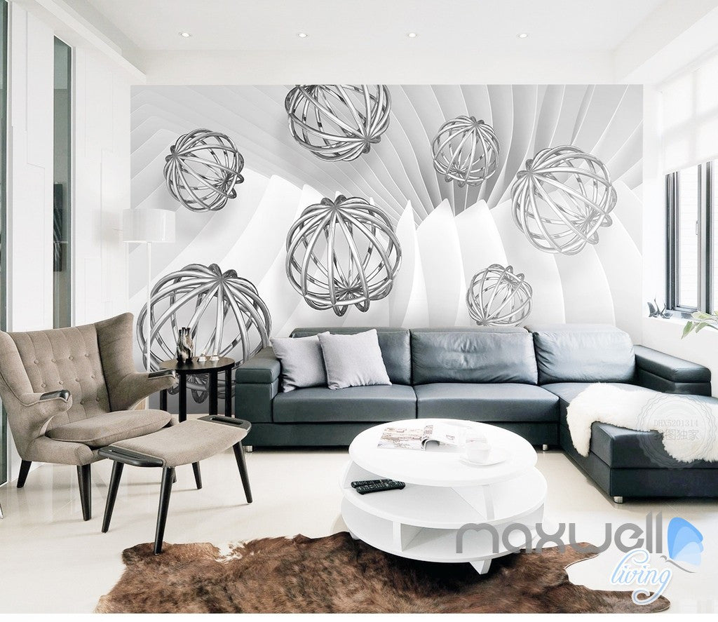 3D Hollow Ball Pattern 5D Wall Paper Mural Art Print Decals Office Decor IDCWP-3DB-000031