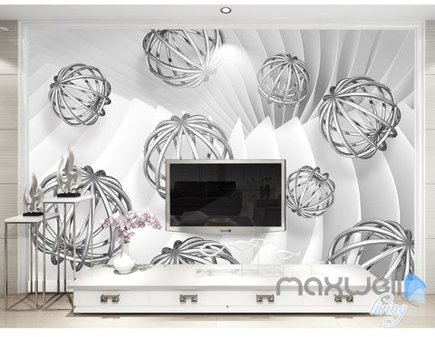 Image of 3D Hollow Ball Pattern 5D Wall Paper Mural Art Print Decals Office Decor IDCWP-3DB-000031