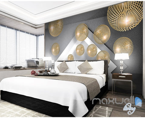 Image of 3D Yellow Hollow Ball 5D Wall Paper Mural Modern Art Print Decals Decor IDCWP-3DB-000033