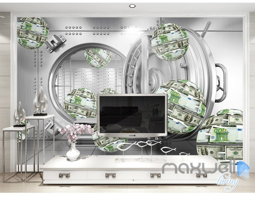 3D Money Ball Bank 5D Wall Paper Mural Modern Art Print Decals Decor IDCWP-3DB-000034