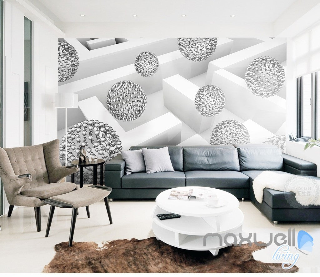 3D Glass Ball Sphere 5D Wall Paper Mural Modern Art Print Business Decor IDCWP-3DB-000036