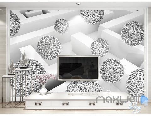 Image of 3D Glass Ball Sphere 5D Wall Paper Mural Modern Art Print Business Decor IDCWP-3DB-000036