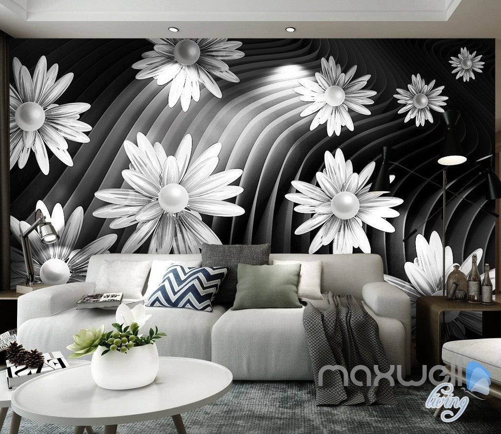 wall murals office. 3D Daisy Flowers Modern 5D Wall Paper Mural Art Print Business Office Decor IDCWP-3DB Murals