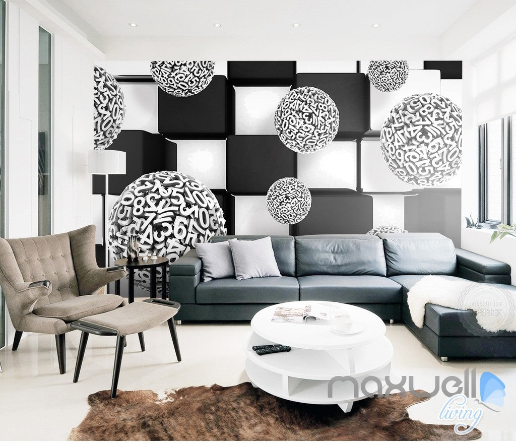 3D Number Ball Blocks 5D Wall Paper Mural Art Print Business Office Decor IDCWP-3DB-000040