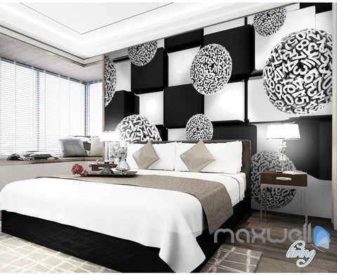 Image of 3D Number Ball Blocks 5D Wall Paper Mural Art Print Business Office Decor IDCWP-3DB-000040