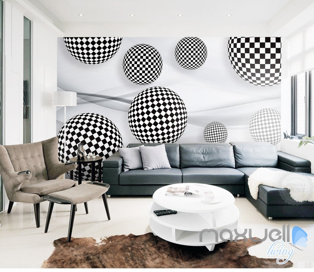 3D Black White Ball 5D Wall Paper Mural Art Print Decals Business Decor IDCWP 3DB