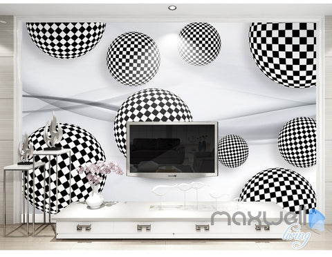 Image of 3D Black White Ball 5D Wall Paper Mural Art Print Decals Business Decor IDCWP-3DB-000041