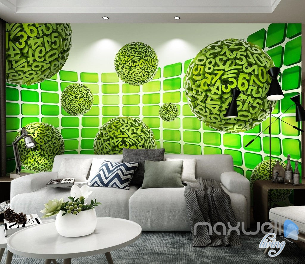 3D Green Number Ball 5D Wall Paper Mural Art Print Decals Business Decor IDCWP-3DB-000042