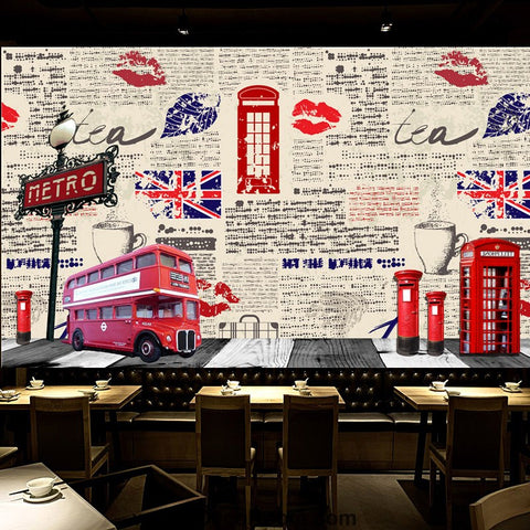 Image of Coffee shop Wallpaper Coffee Club Cafe Wall Murals IDCWP-CF-000008