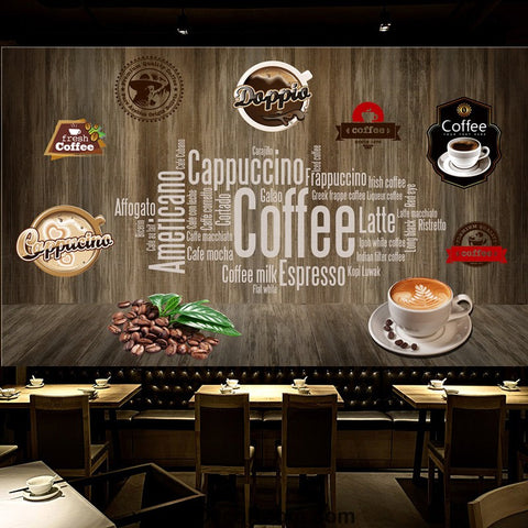 Image of Coffee shop Wallpaper Coffee Club Cafe Wall Murals IDCWP-CF-000049