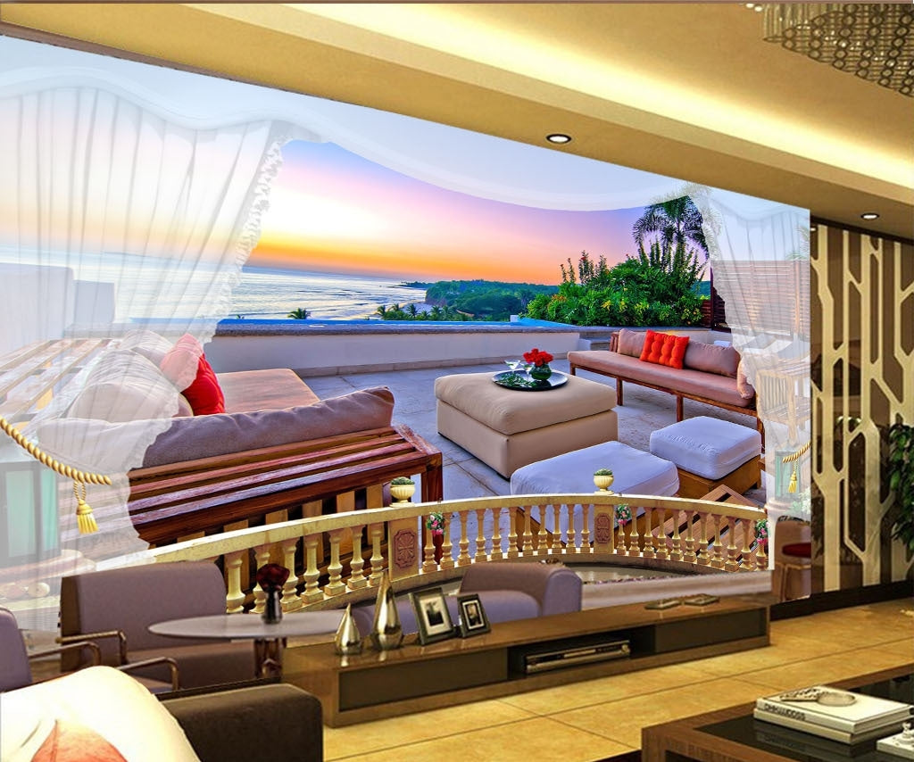 3D Seascape Sightseeing Balcony Wallpaper IDCWP-DZ-000024