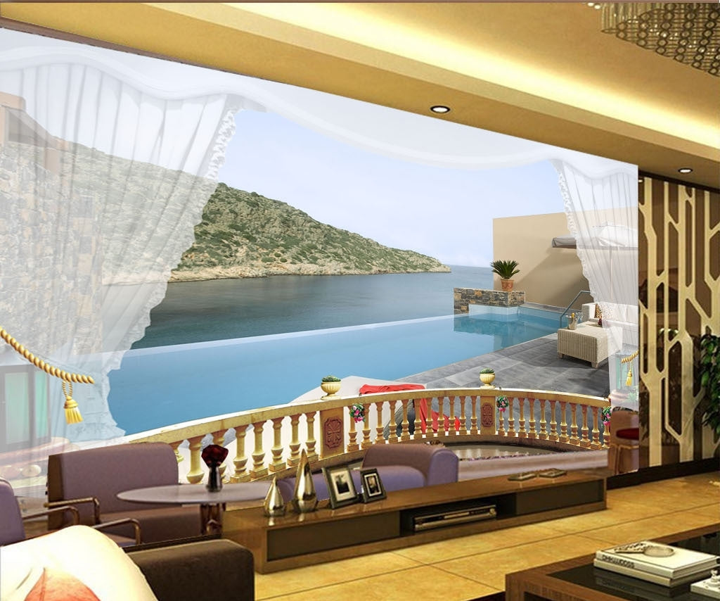3D Seascape Balcony Sightseeing Wallpaper IDCWP-DZ-000025
