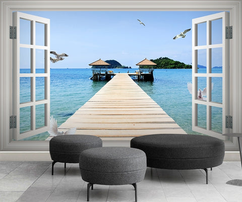 Window scenery sea 3D Wallpaper IDCWP-DZ-000032
