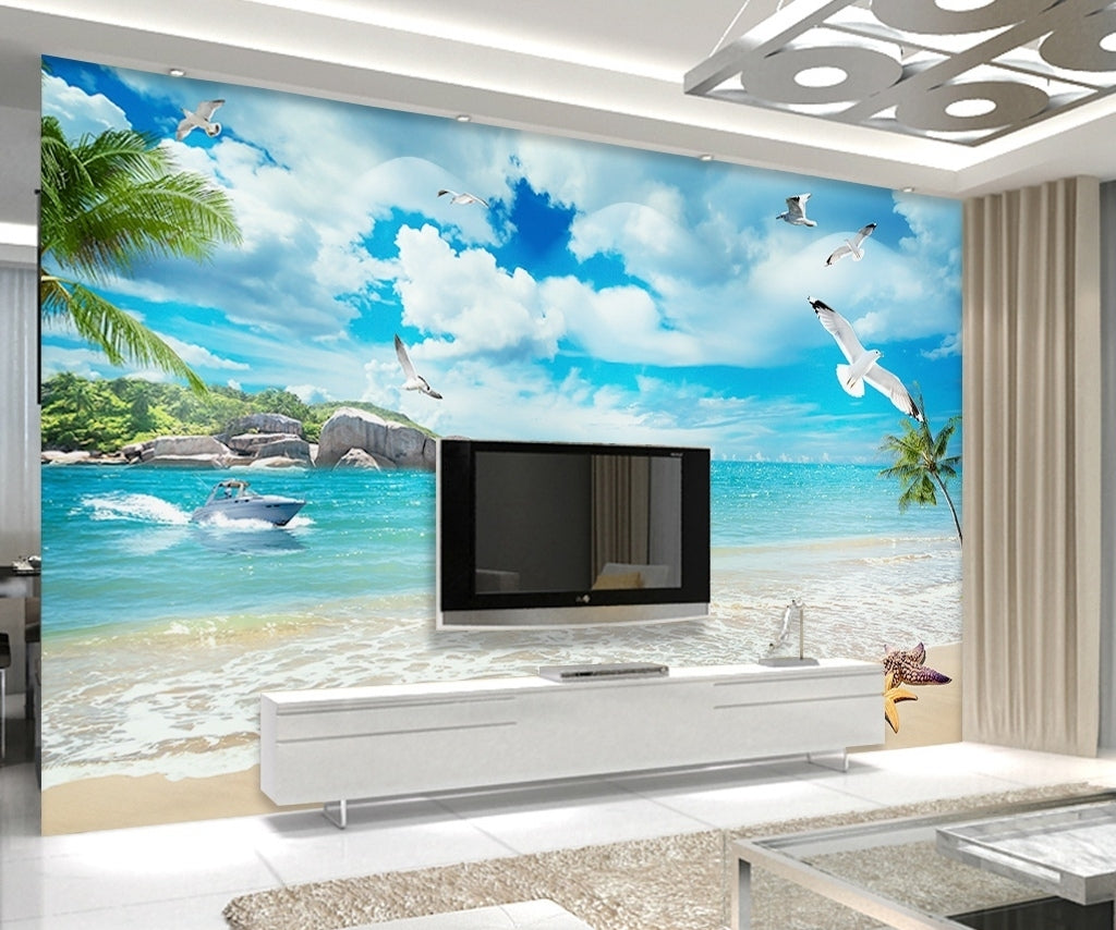 3D Beach Landscape Wallpaper Decorative Painting Wallpaper IDCWP-DZ-000042