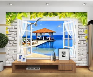 Greenery Window Wall 3D Landscape Pavilion wallpaper IDCWP-DZ-000044
