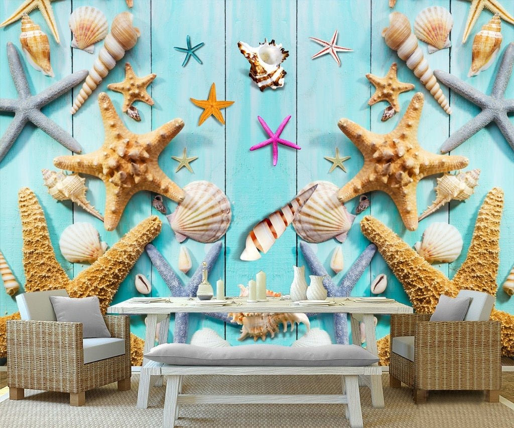 Blue wooden board mediterranean seashell ocean style wallpaper IDCWP-DZ-000063
