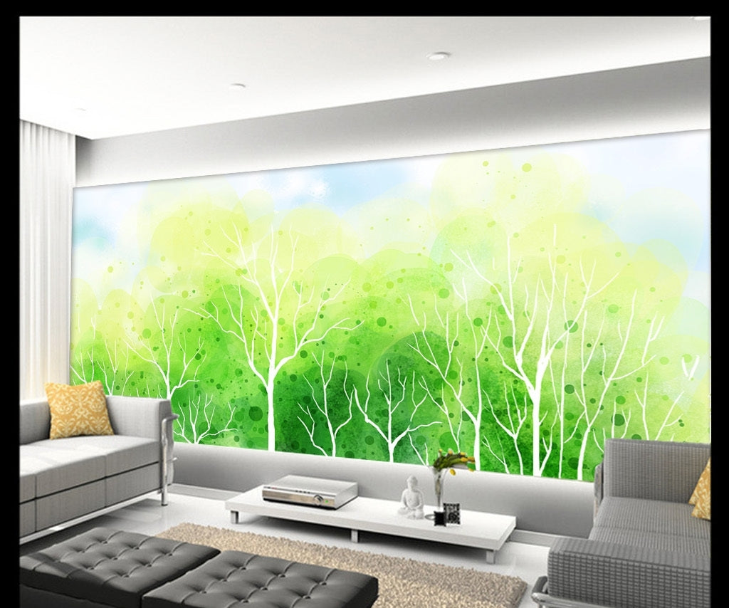 Green abstract tree fresh landscape hand painted style Wallpaper IDCWP-DZ-000110