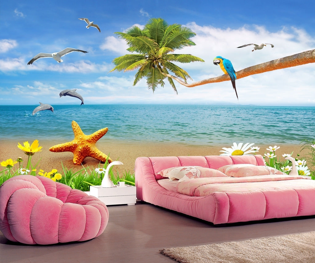 Beautiful Seascape Beach Coco Dolphin Wallpaper IDCWP-DZ-000117