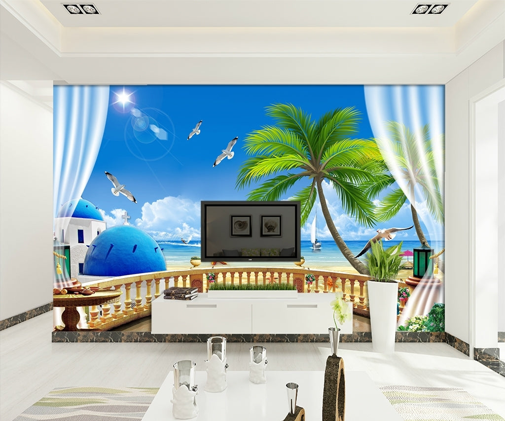European luxury sea view Mediterranean coco beach Wallpaper IDCWP-DZ-000133
