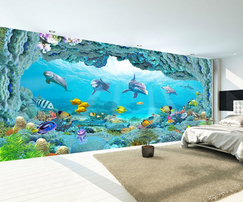 Underwater World Dolphin 3D Sea House Living Room Wallpaper IDCWP-DZ-000142