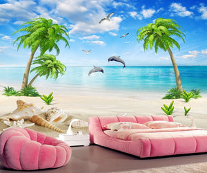 Summer Love Sea Landscape Coconut Tree Beach Sofa Wallpaper IDCWP-DZ-000143