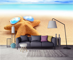 sea background starfish with glasses lying on the beach Wallpaper IDCWP-DZ-000166