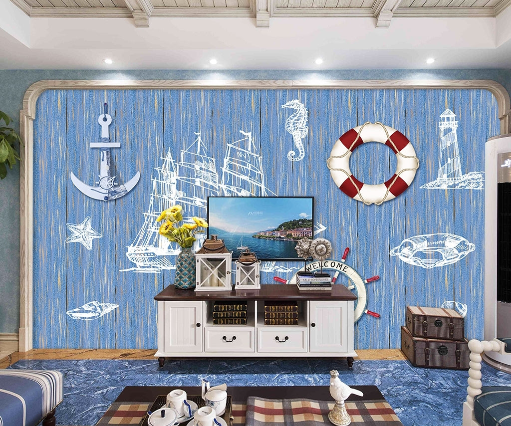 Marine elements Mediterranean wood grain Wallpaper IDCWP-DZ-000207