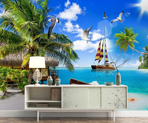 Seascape love sea coconut tree landscape maldives Wallpaper IDCWP-DZ-000223