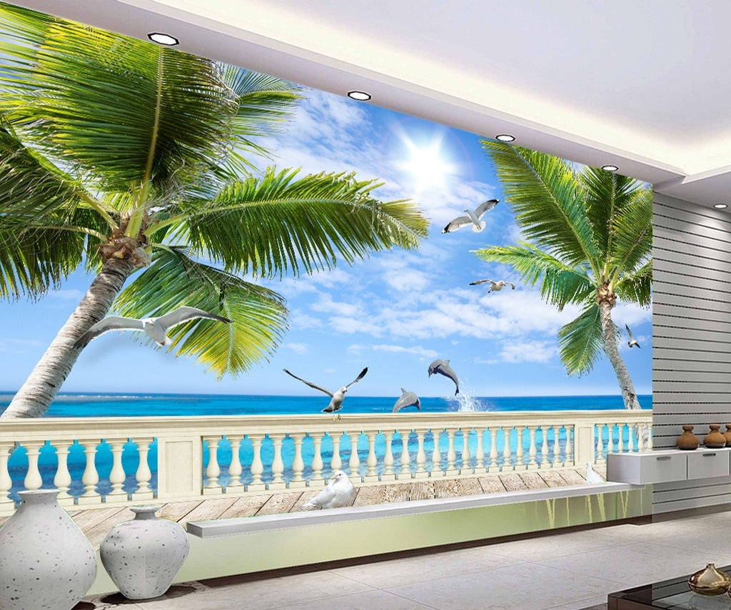 3D Mediterranean Beach Seascape Coconut Tree Maldives Wallpaper IDCWP-DZ-000224