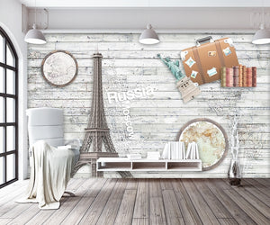 Eiffel Tower World Map Vintage Mediterranean wallpaper IDCWP-DZ-000234