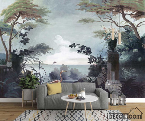 Image of 411X285cm European  retro retro garden rainforest wallpaper wall murals IDCWP-HL-000004